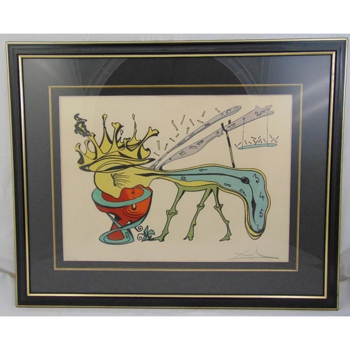 53 - Salvador Dali framed and glazed limited edition polychromatic print 82/250, to include COA, signed b...