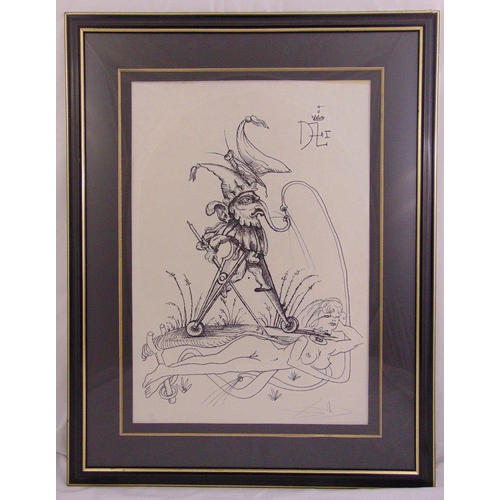 54 - Salvador Dali framed and glazed monochromatic limited edition print of the jester 22/50, to include ...