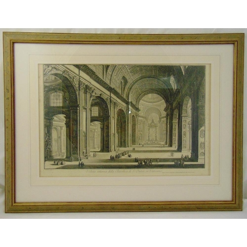 58 - Giovanni Piranasi framed and glazed monochromatic etching of the Interior of St Peters Basilica, 41 ...