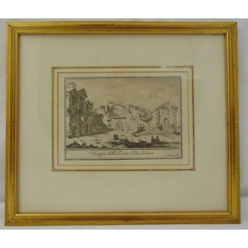 59 - Giovanni Piranasi framed and glazed monochromatic etching of classical ruins, 12.5 x 18cm...