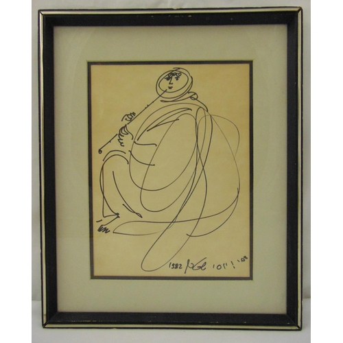 60 - Yossi Stern framed and glazed monochromatic sketch of a figure playing a flute, signed and dated bot...