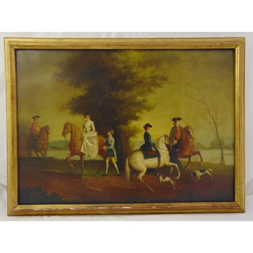 80 - A framed oil on canvas of 18th century figures on horseback in a country setting, 57 x 80cm...