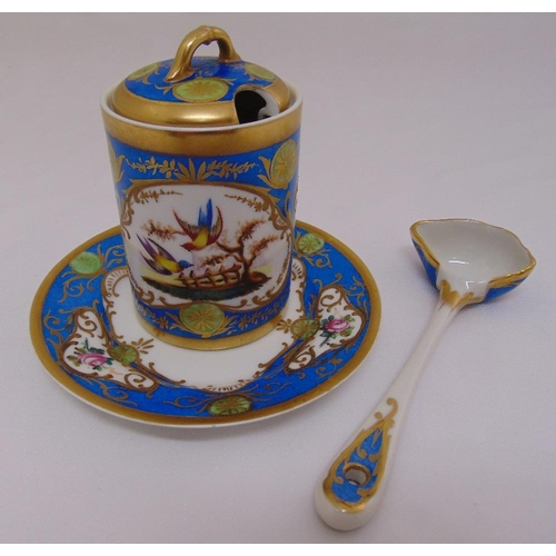 123 - A Sevres style honey pot and cover with matching stand and spoon, decorated throughout with birds fl...