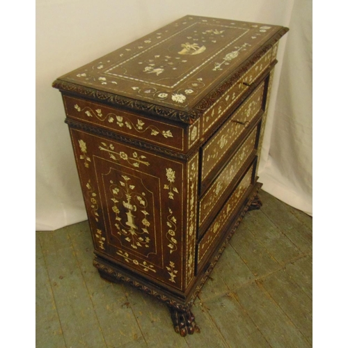 4 - An Indo Portuguese rectangular inlaid oak chest of drawers on four claw feet, 90 x 81 x 42cm...