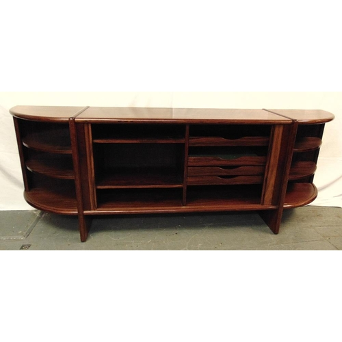 1 - Danish rosewood sideboard with cupboards and drawers, on rectangular supports 78.5 x 225.5 x 46cm, t...