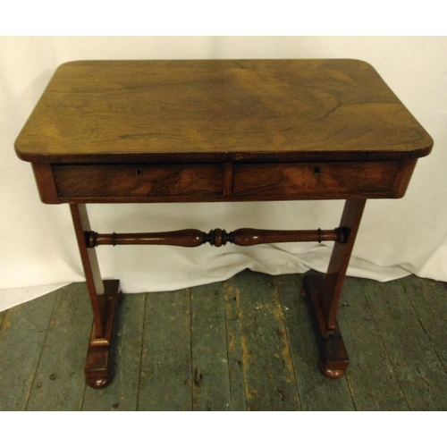 12 - Mahogany rectangular two drawer side table on two supports with bun feet, 72.5 x 66 x 38.5cm