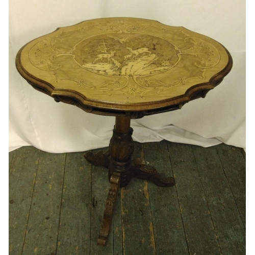 13 - Victorian mahogany and satinwood inlaid tilt top occasional table, 77 x 63.5 x 46.5cm