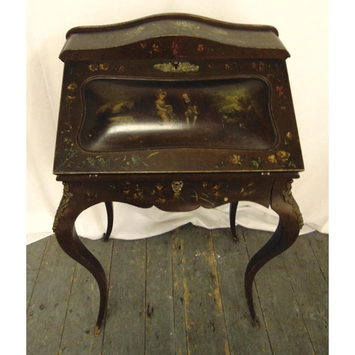 15 - A Victorian painted writing desk on cabriole legs, A/F