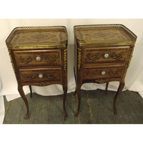 16 - A pair of French style rectangular two drawer side tables with gilt metal handles and applied decora...