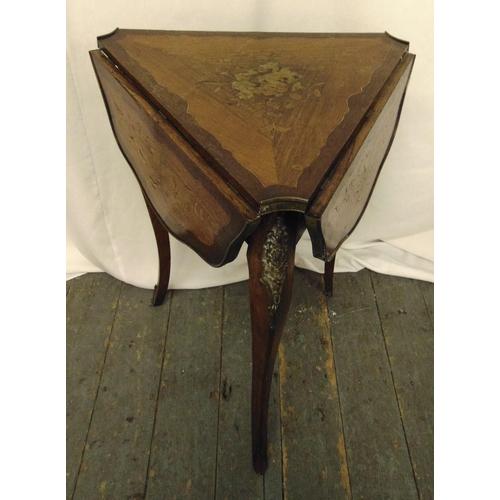 17 - A mahogany and satinwood inlaid triangular drop flap hall table on three cabriole legs, A/F