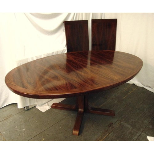 2 - Danish rosewood dining table with two drop in leaves, 73 x 280 x 119.5cm, to include CITES certifica...