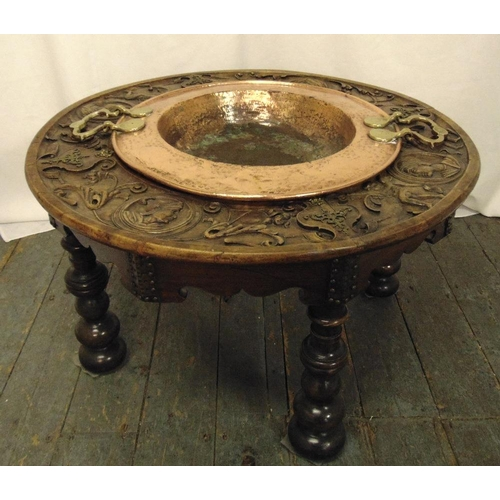 22 - A 19th century continental oak circular table carved with figures and scrolls the centre inset with ...