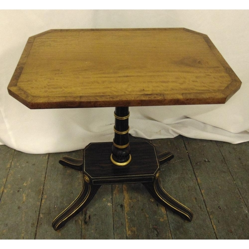 23 - A Regency style rectangular side table on four outswept legs, 51 x 46 x 23cm