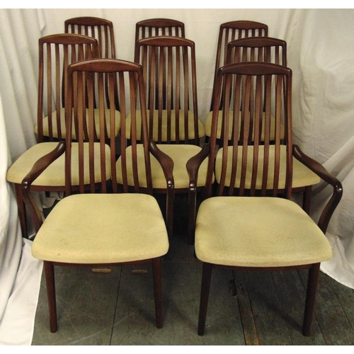 3 - Danish rosewood dining chairs to include two carvers and six chairs, to include CITES certificate