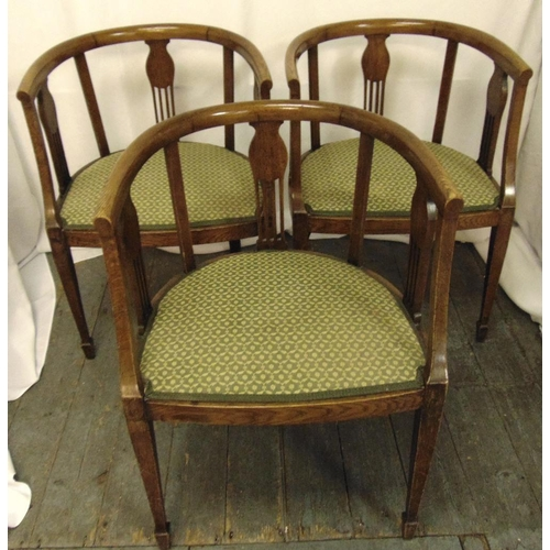 31 - Three early 20th century mahogany chairs with upholstered seats, 75 x 54.5 x 50cm