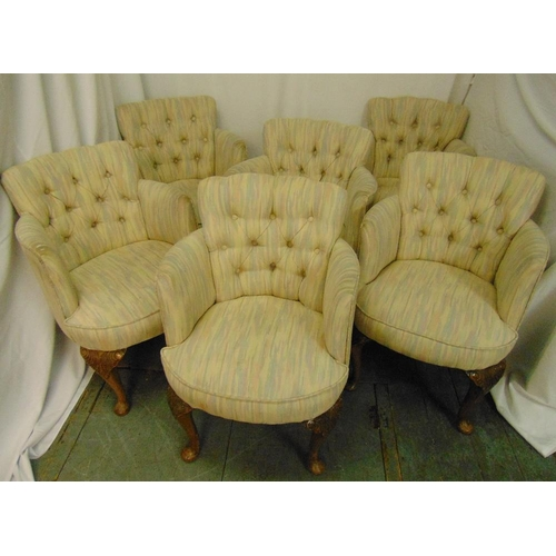 32 - A set of six upholstered occasional chairs on cabriole legs