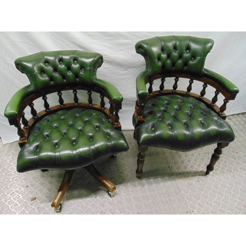 34 - Two reproduction Captains chairs, one on castors
