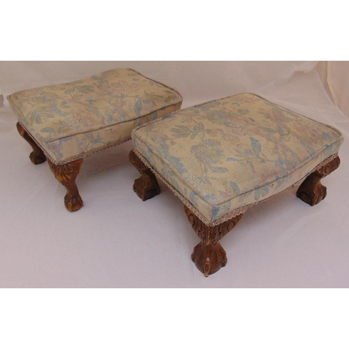 36 - A pair of rectangular foot stools on ball and claw feet, 21 x 42 x 31cm