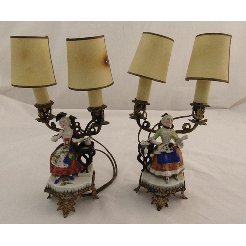 40 - A pair of continental gilded metal table lamps with applied porcelain figurines of seated ladies, A/...