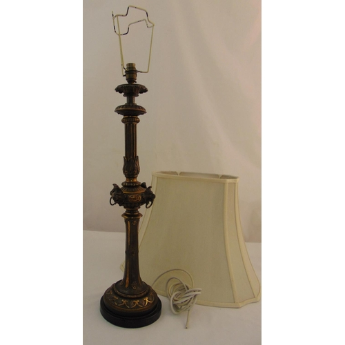 42 - A Victorian style gilded metal table lamp with silk shade, 95.5cm (h)