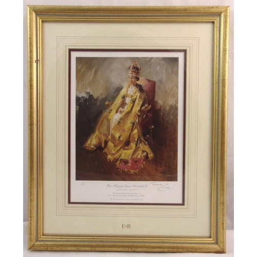 48 - Terence Cuneo framed and glazed limited edition polychromatic print of Queen Elizabeth II, 133/850, ...