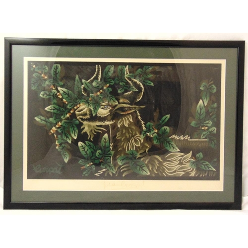 49 - Andre Lurcat framed and glazed polychromatic print, signed to the base, 42 x 64cm