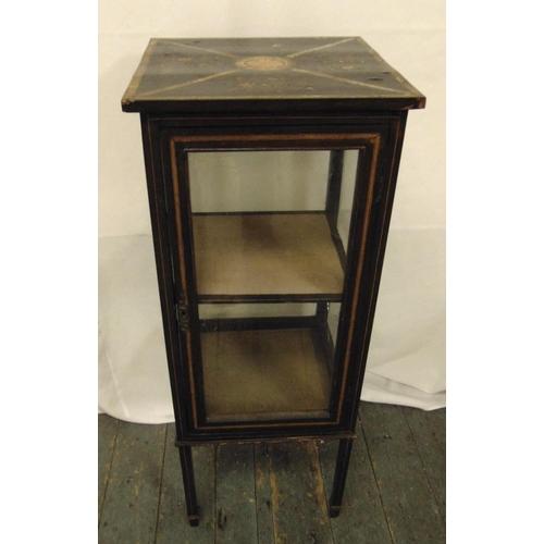 5 - A Victorian rectangular ebonised four glass display cabinet on four rectangular legs, 98.5 x 39.5 x ...
