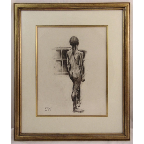 51 - A framed and glazed charcoal drawing of a female figure, indistinctly signed bottom left, 36.5 x 47c...