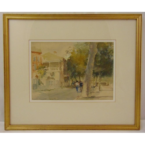 54 - Roland Batchelor framed and glazed watercolour titled Cahors on the River, signed bottom left, 20.5 ...