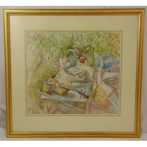 55 - Michael Emmett framed and glazed watercolour titled The Violin, signed bottom left, 48 x 54cm