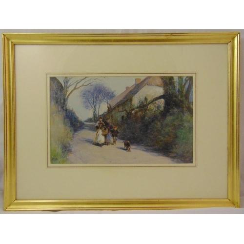 57 - John White framed gouache titled Going to Market, gallery label to verso, 27.5 x 45cm