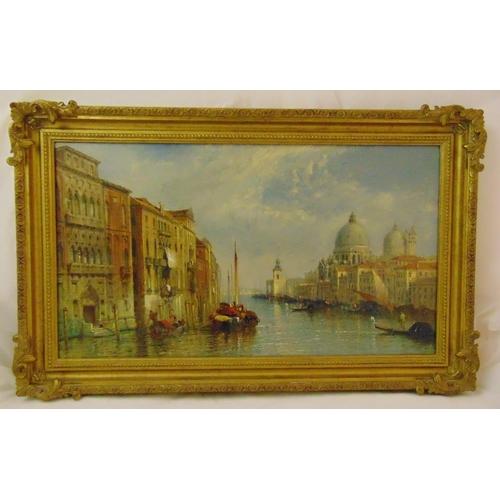 58 - Jane Vivian framed oil on canvas of The Grand Canal Venice, signed bottom left, 46 x 81cm