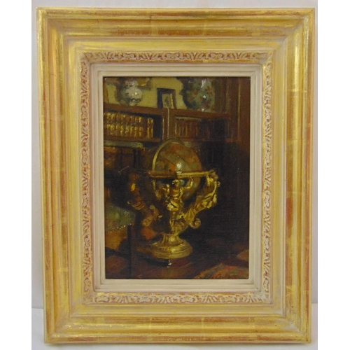 59 - Patrick William Adams framed oil on panel titled The Old Globe, signed bottom right, gallery label t...