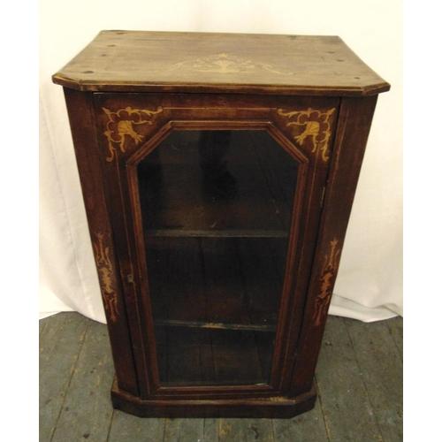 6 - An Edwardian rectangular mahogany and satinwood inlaid display cabinet with glazed door on rectangul...