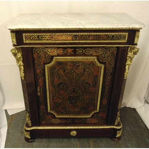 7 - A rectangular Boule work cabinet with gilt metal decorations, marble top, on four bun feet, A/F, 107...