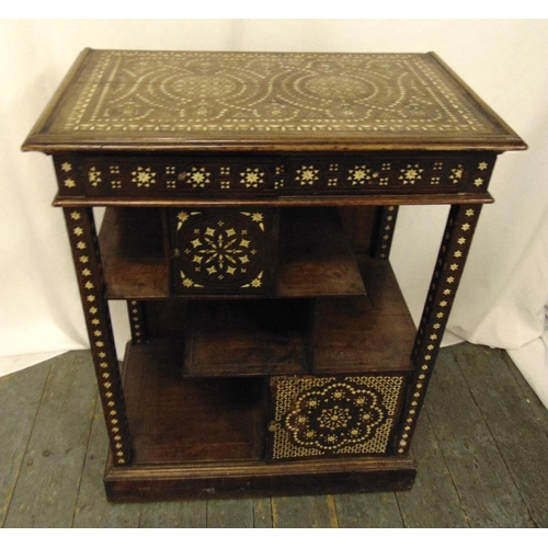 9 - A Moroccan style rectangular mahogany and inlaid Mother of Pearl display stand, 82 x 65 x 39cm