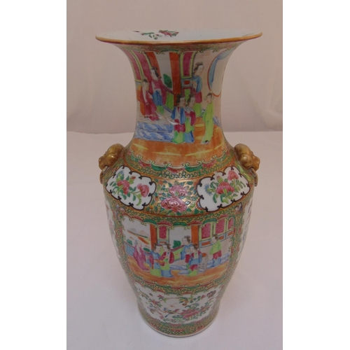 166 - A Chinese famile verte baluster vase decorated with figures in a architectural setting, 44cm (h)