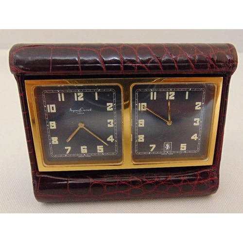 291 - Asprey and Garrard rectangular travel clock with two dials in red leather case, 7.5 x 6cm