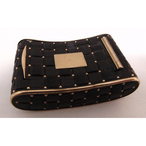 368 - A 19th century shaped rectangular quilted tortoiseshell and gold snuff box, the hinged cover with va...