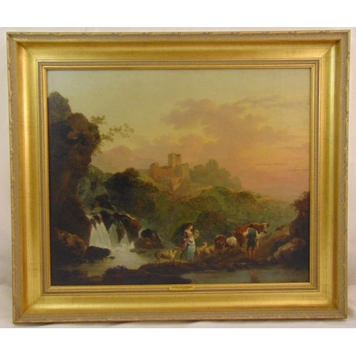 62 - Philippe-Jacques de Loutherbourg framed oil on canvas of figures by a river with a castle in the bac...