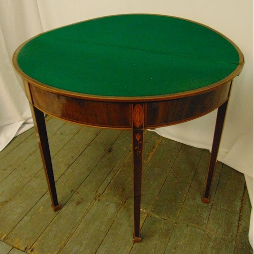 7 - A Regency mahogany and satinwood inlaid demilune card table on four tapering rectangular legs, 74 x ...