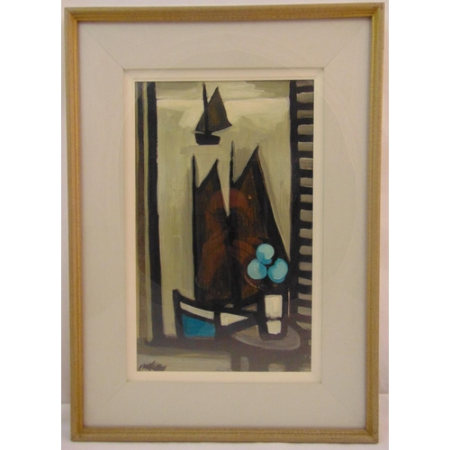 72 - Markey Robinson framed oil on canvas of a view from a window, signed bottom left, 50.5 x 31cm, ARR a...