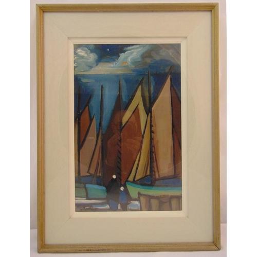73 - Markey Robinson framed oil on canvas of sailing boats under a moonlit sky, signed bottom left, 51.5 ...