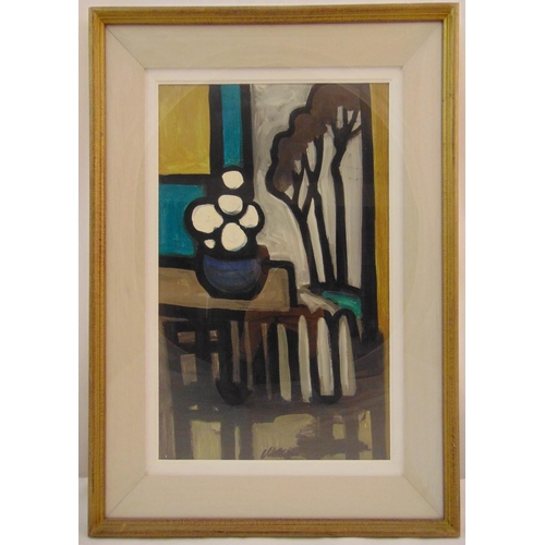 74 - Markey Robinson framed oil on canvas of a table and chairs, signed bottom left, gallery label to ver...