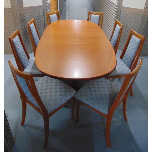 1 - G-Plan extending oval teak dining table circa 1970 and eight matching dining chairs with upholstered...