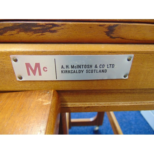12 - A rectangular teak tea table with revolving folding top and two matching side tables by Macintosh of...