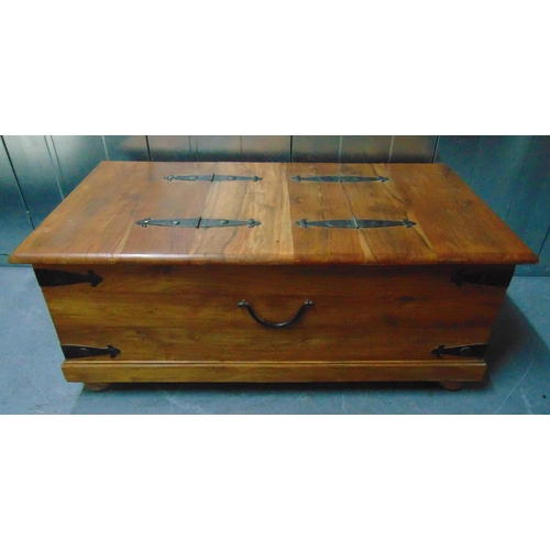 16 - A rectangular wooden chest with metal bands to the sides and hinged top, 46 x 110.5 x 60cm