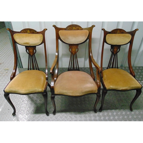 20 - A suite of three Edwardian mahogany occasional chairs with satinwood inlays and upholstered seats an...