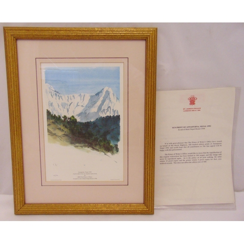 46 - Prince Charles limited edition framed and glazed polychromatic lithographic print titled Annapurna N...