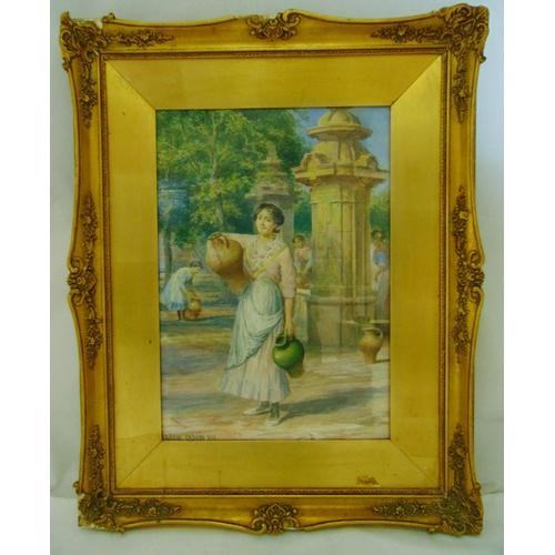 48 - Arthur Trevor Haddon framed and glazed watercolour of a female water carrier, signed bottom right, 5...